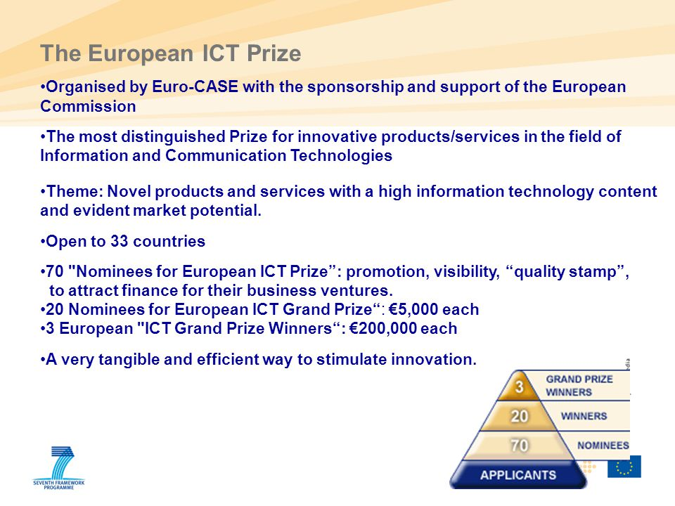50 The European ICT Prize Organised by Euro-CASE with the sponsorship and support of the European Commission The most distinguished Prize for innovati
