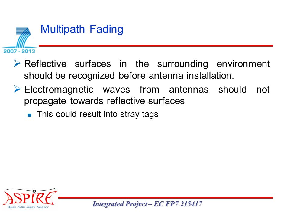 Multipath Fading Integrated Project – EC FP7 215417  Reflective surfaces in the surrounding environment should be recognized before antenna installation.