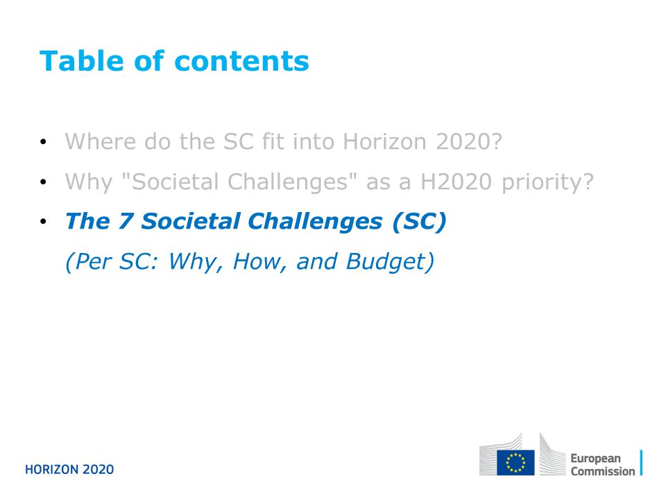 Table of contents Where do the SC fit into Horizon 2020? Why