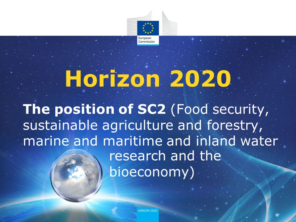 The position of SC2 (Food security, sustainable agriculture and forestry, marine and maritime and inland water Horizon 2020 research and the bioeconom