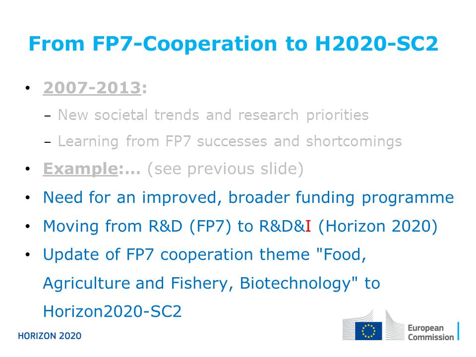 From FP7-Cooperation to H2020-SC2 2007-2013:  New societal trends and research priorities  Learning from FP7 successes and shortcomings Example:… (s
