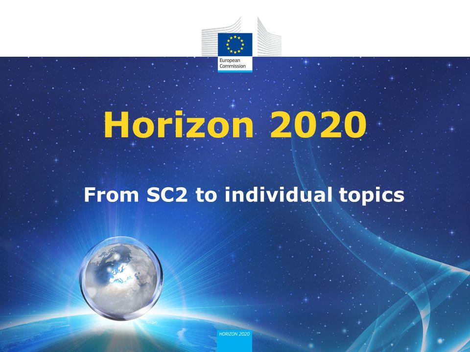 From SC2 to individual topics Horizon 2020