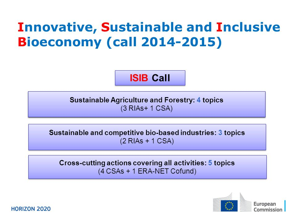 Innovative, Sustainable and Inclusive Bioeconomy (call 2014-2015) Cross-cutting actions covering all activities: 5 topics (4 CSAs + 1 ERA-NET Cofund)