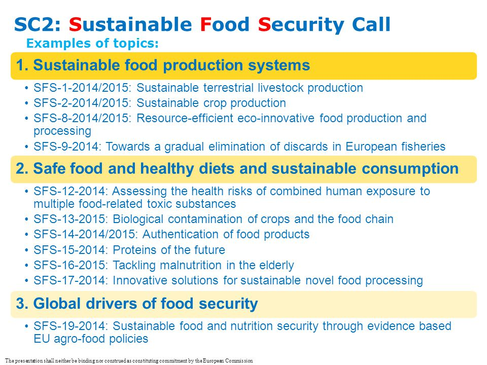 SC2: Sustainable Food Security Call 1. Sustainable food production systems SFS-1-2014/2015: Sustainable terrestrial livestock production SFS-2-2014/20