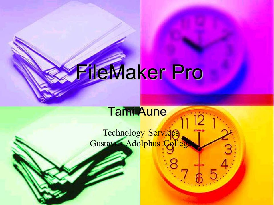 FileMaker Pro Tami Aune Technology Services Gustavus Adolphus College