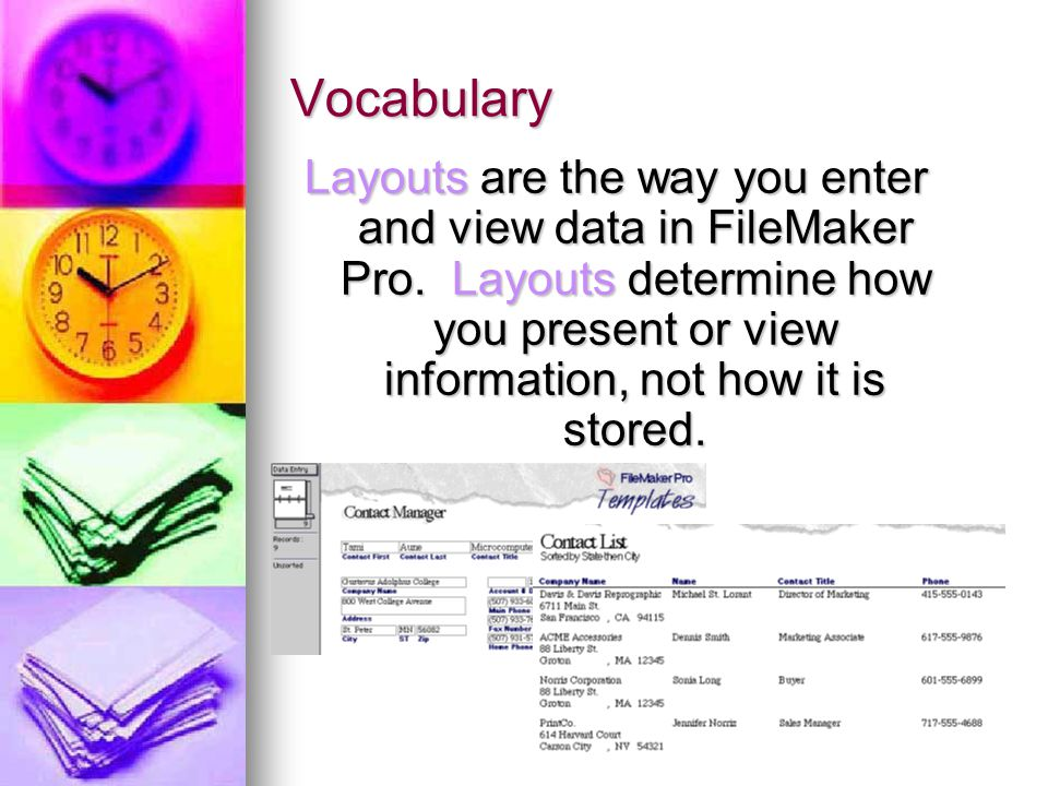 Vocabulary Layouts are the way you enter and view data in FileMaker Pro. Layouts determine how you present or view information, not how it is stored.
