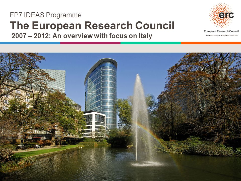 Established by the European Commission FP7 IDEAS Programme The European Research Council 2007 – 2012: An overview with focus on Italy