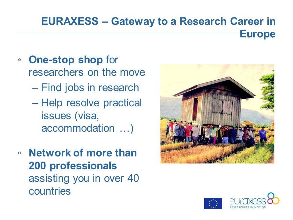 EURAXESS – 4 Building Blocks Jobs: includes all information on job opportunities, funding opportunities, grants, employment, etc.