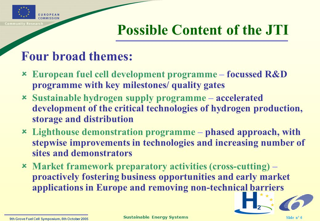 9th Grove Fuel Cell Symposium, 6th October 2005 Sustainable Energy Systems Slide n° 7 THANK YOU !!!