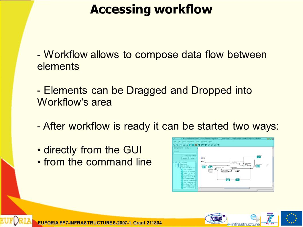 Accessing workflow - Workflow allows to compose data flow between elements - Elements can be Dragged and Dropped into Workflow s area - After workflow is ready it can be started two ways: directly from the GUI from the command line EUFORIA FP7-INFRASTRUCTURES-2007-1, Grant 211804