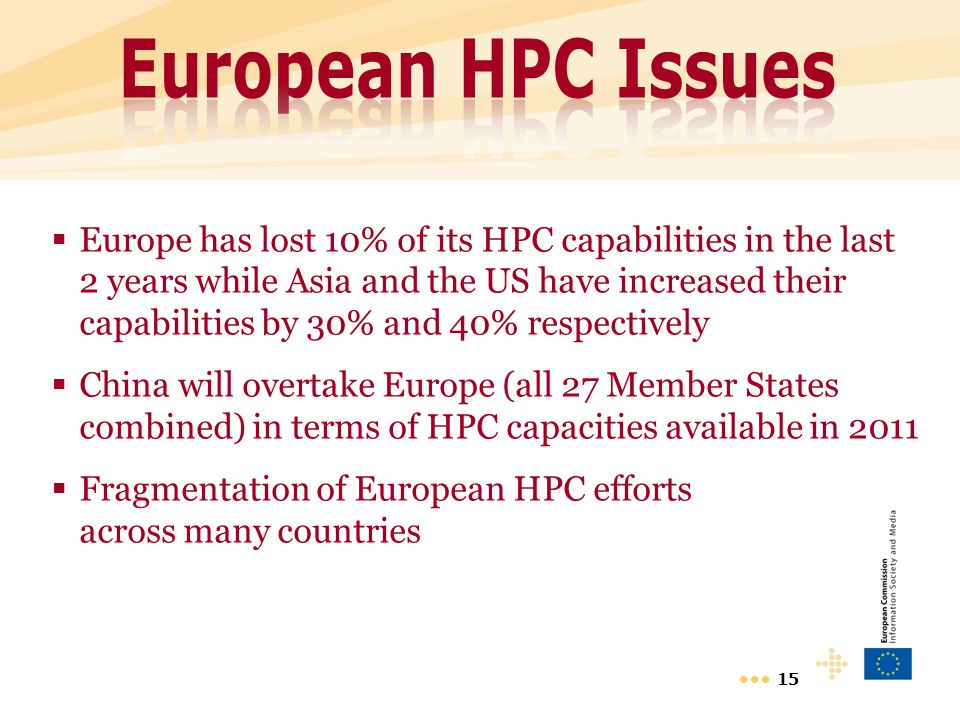 15  Europe has lost 10% of its HPC capabilities in the last 2 years while Asia and the US have increased their capabilities by 30% and 40% respective