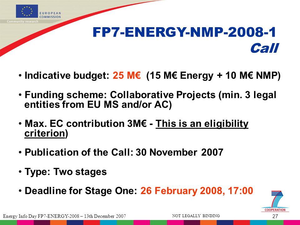 27 Energy Info Day FP7-ENERGY-2008 – 13th December 2007 NOT LEGALLY BINDING FP7-ENERGY-NMP-2008-1 Call Indicative budget: 25 M€ (15 M€ Energy + 10 M€ NMP) Funding scheme: Collaborative Projects (min.
