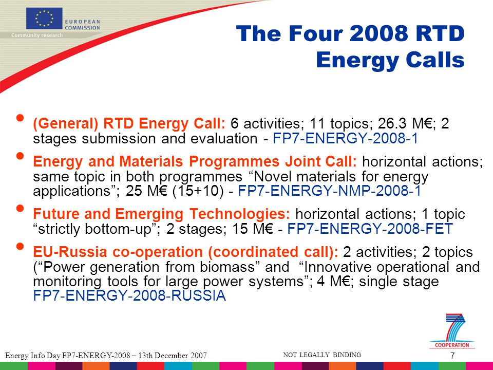 7 Energy Info Day FP7-ENERGY-2008 – 13th December 2007 NOT LEGALLY BINDING The Four 2008 RTD Energy Calls (General) RTD Energy Call: 6 activities; 11 topics; 26.3 M€; 2 stages submission and evaluation - FP7-ENERGY-2008-1 Energy and Materials Programmes Joint Call: horizontal actions; same topic in both programmes Novel materials for energy applications ; 25 M€ (15+10) - FP7-ENERGY-NMP-2008-1 Future and Emerging Technologies: horizontal actions; 1 topic strictly bottom-up ; 2 stages; 15 M€ - FP7-ENERGY-2008-FET EU-Russia co-operation (coordinated call): 2 activities; 2 topics ( Power generation from biomass and Innovative operational and monitoring tools for large power systems ; 4 M€; single stage FP7-ENERGY-2008-RUSSIA