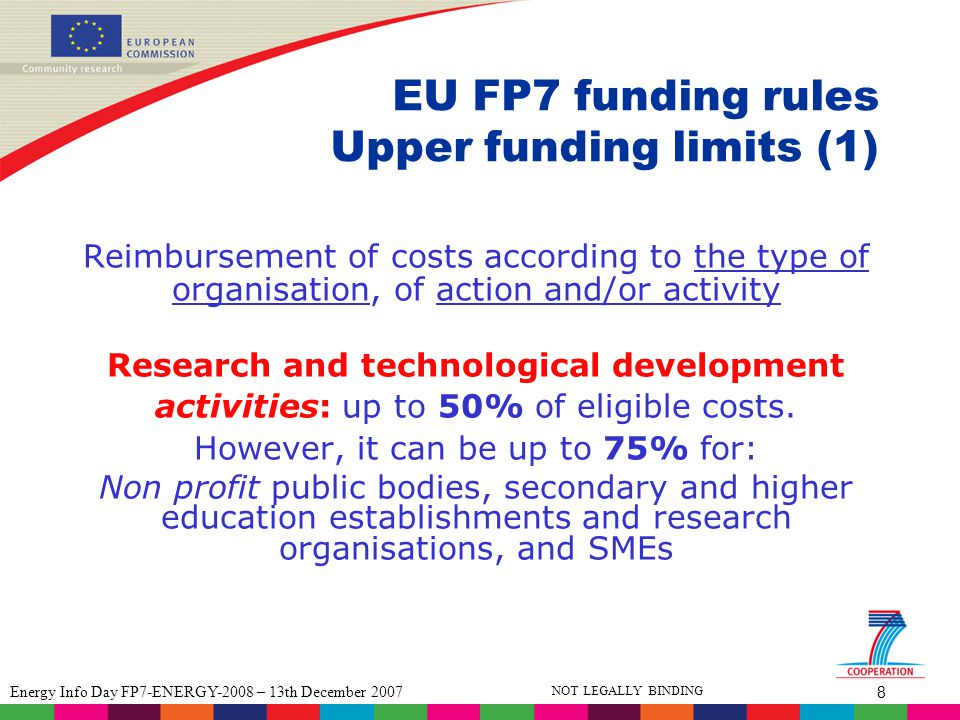 9 Energy Info Day FP7-ENERGY-2008 – 13th December 2007 NOT LEGALLY BINDING EU FP7 funding rules Upper funding limits (2) Demostration activities: up to 50% Other activities including management: up to 100% Coordination and support actions: up to 100%