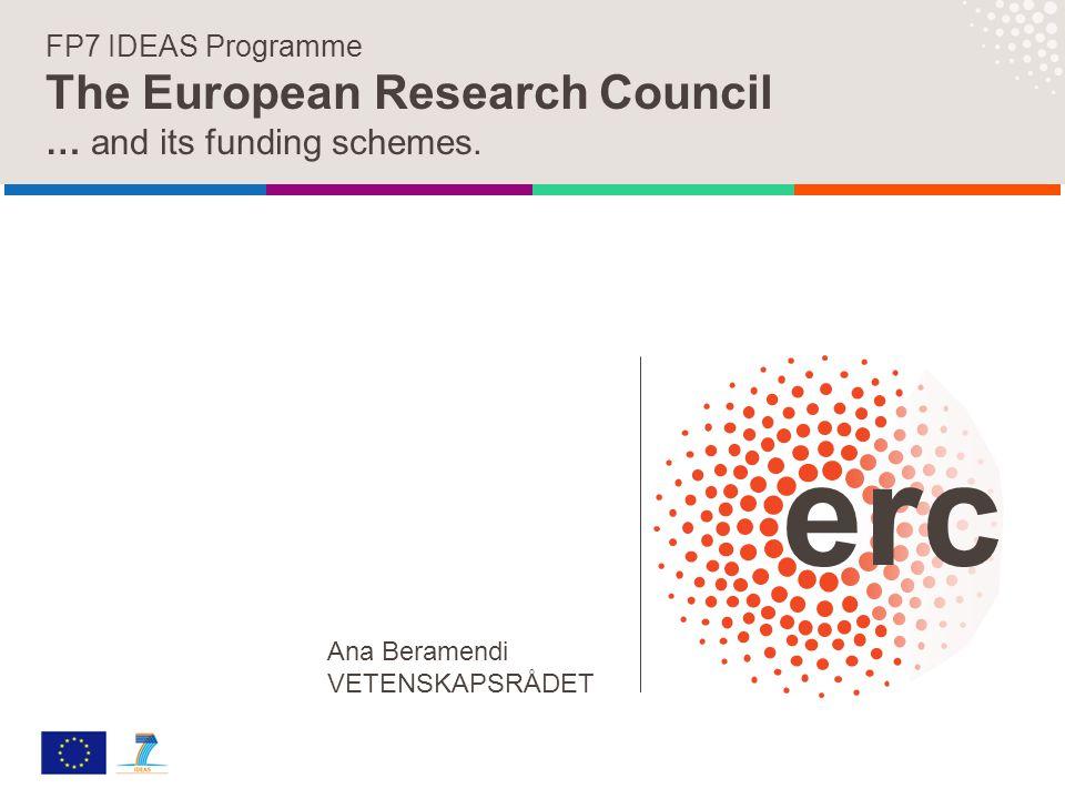 FP7 IDEAS Programme The European Research Council … and its funding schemes. Ana Beramendi VETENSKAPSRÅDET