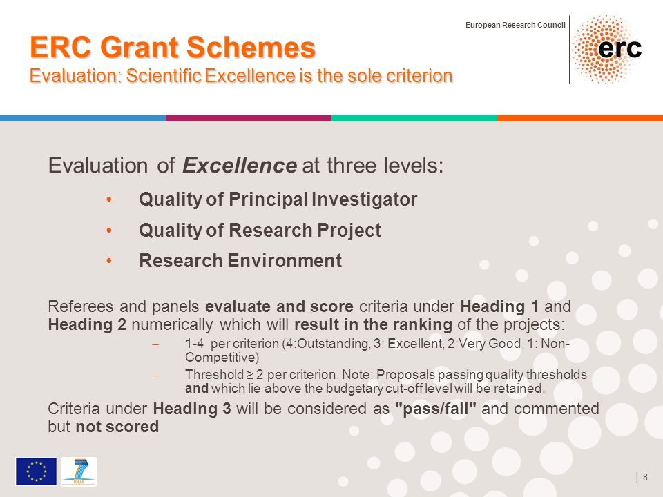 European Research Council │ 8 ERC Grant Schemes Evaluation: Scientific Excellence is the sole criterion Evaluation of Excellence at three levels: Quality of Principal Investigator Quality of Research Project Research Environment Referees and panels evaluate and score criteria under Heading 1 and Heading 2 numerically which will result in the ranking of the projects:  1-4 per criterion (4:Outstanding, 3: Excellent, 2:Very Good, 1: Non- Competitive)  Threshold ≥ 2 per criterion.