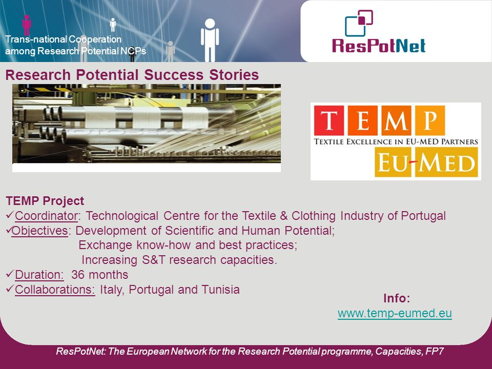 ResPotNet: The European Network for the Research Potential programme, Capacities, FP7 R esearch Potential Success Stories TEMP Project Coordinator: Technological Centre for the Textile & Clothing Industry of Portugal Objectives: Development of Scientific and Human Potential; Exchange know-how and best practices; Increasing S&T research capacities.