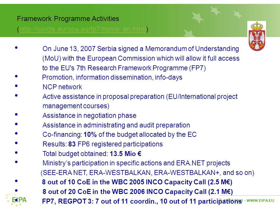 EIPA 2011 - WWW.EIPA.EU © Framework Programme Activities (http://cordis.europa.eu/fp7/home_en.html)http://cordis.europa.eu/fp7/home_en.html On June 13, 2007 Serbia signed a Memorandum of Understanding (MoU) with the European Commission which will allow it full access to the EU s 7th Research Framework Programme (FP7) Promotion, information dissemination, info-days NCP network Active assistance in proposal preparation (EU/International project management courses) Assistance in negotiation phase Assistance in administrating and audit preparation Co-financing: 10% of the budget allocated by the EC Results: 83 FP6 registered participations Total budget obtained: 13.5 Mio € Ministry's participation in specific actions and ERA.NET projects (SEE-ERA NET, ERA-WESTBALKAN, ERA-WESTBALKAN+, and so on) 8 out of 10 CoE in the WBC 2005 INCO Capacity Call (2.5 M€) 8 out of 20 CoE in the WBC 2006 INCO Capacity Call (2.1 M€) FP7, REGPOT 3: 7 out of 11 coordin., 10 out of 11 participations