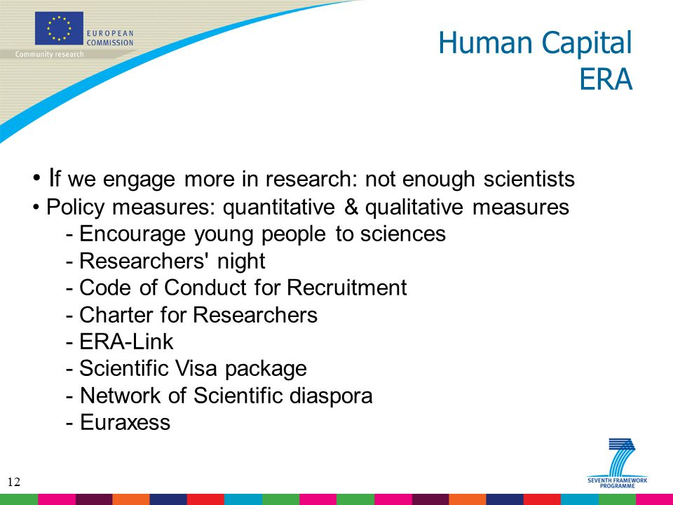12 Human Capital ERA I f we engage more in research: not enough scientists Policy measures: quantitative & qualitative measures - Encourage young peop