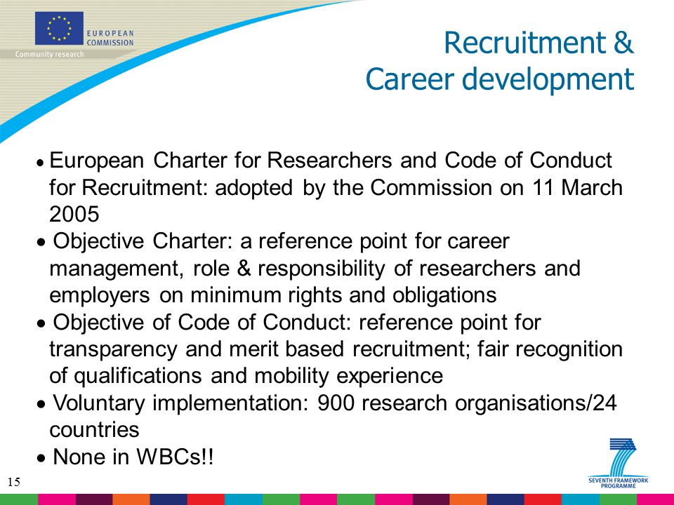 15 Recruitment & Career development  European Charter for Researchers and Code of Conduct for Recruitment: adopted by the Commission on 11 March 2005