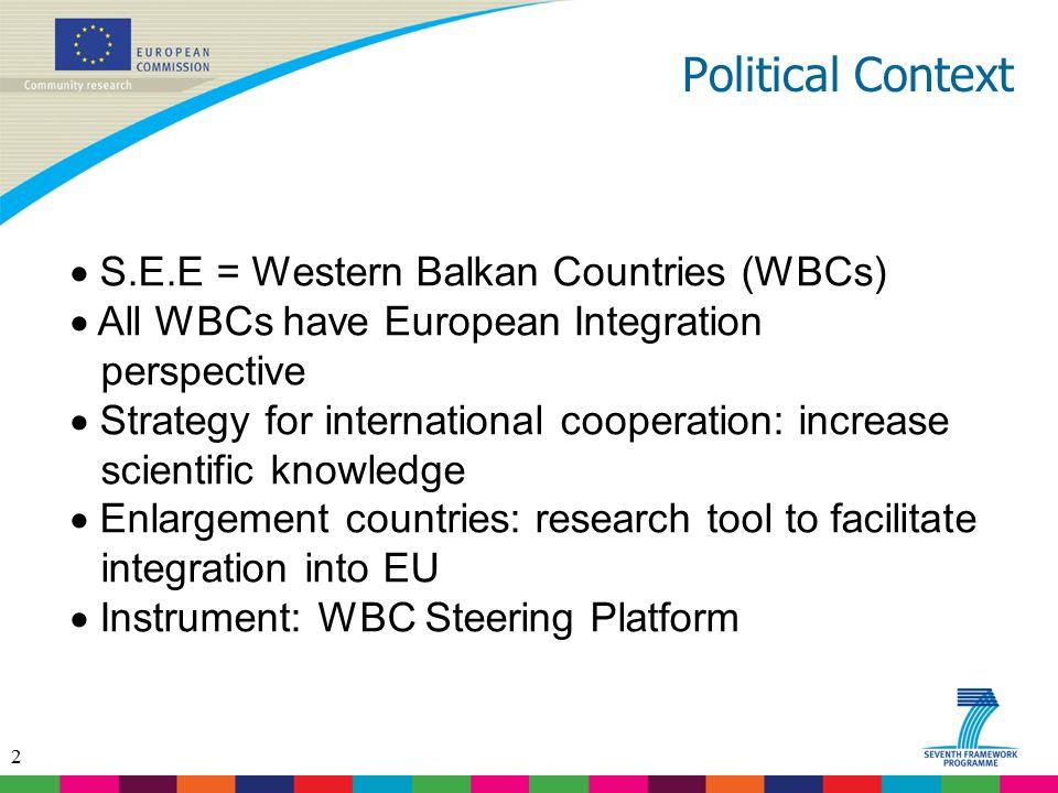 2 Political Context  S.E.E = Western Balkan Countries (WBCs)  All WBCs have European Integration perspective  Strategy for international cooperatio