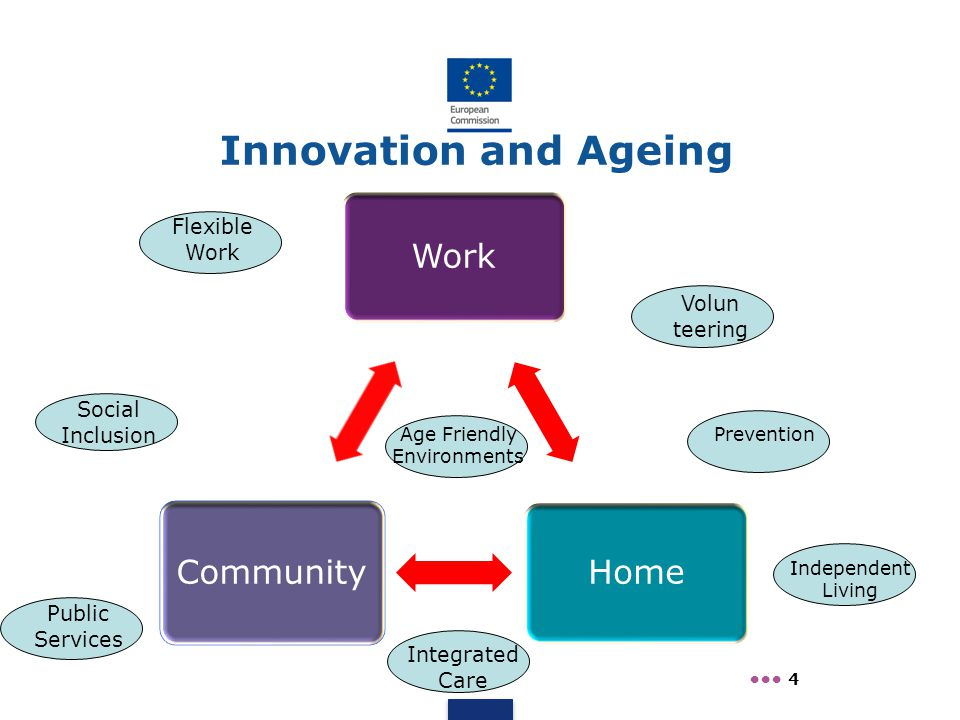 Work Home Community 4 Innovation and Ageing Social Inclusion Public Services Volun teering Independent Living Age Friendly Environments Integrated Car