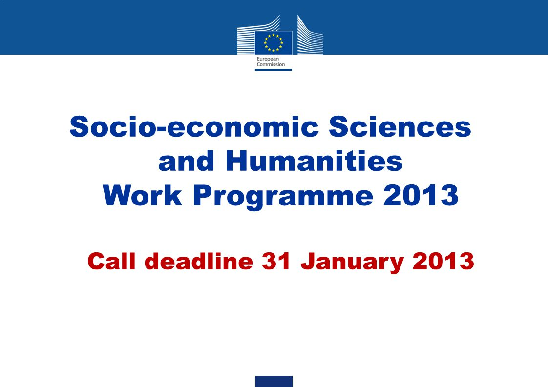 Research in SSH: 7 Activities 1.Growth, employment and competitiveness in a knowledge society 2.Combining economic, social and environmental objectives in a European perspective 3.Major trends in society and their implications 4.Europe in the world 5.The citizen in the EU 6.Socio-economic and scientific indicators 7.Foresight