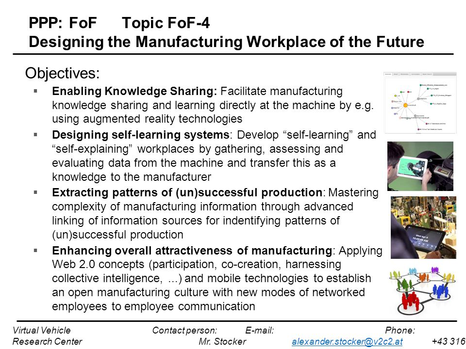 PPP: FoFTopic FoF-4 Designing the Manufacturing Workplace of the Future Objectives:  Enabling Knowledge Sharing: Facilitate manufacturing knowledge sharing and learning directly at the machine by e.g.