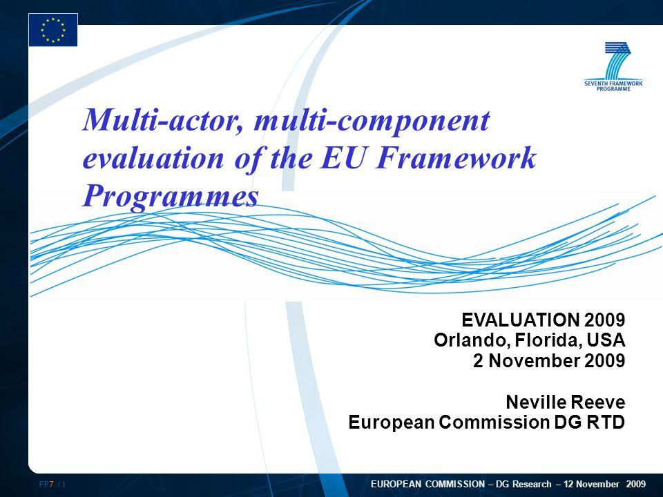 FP7 /12 Evaluation Roadmap  FP6 Ex-post evaluation in 2008  FP7 Progress report in 2009  ERC review 2009  FP7 interim evaluation in 2010  Ex ante Impact Assessment (FP8) in 2011/12  Ex evaluation FP7 in 2015