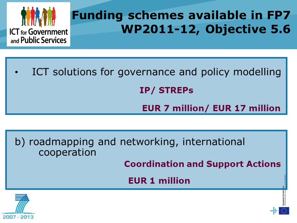 Funding schemes available in FP7 WP2011-12, Objective 5.6 ICT solutions for governance and policy modelling IP/ STREPs EUR 7 million/ EUR 17 million b