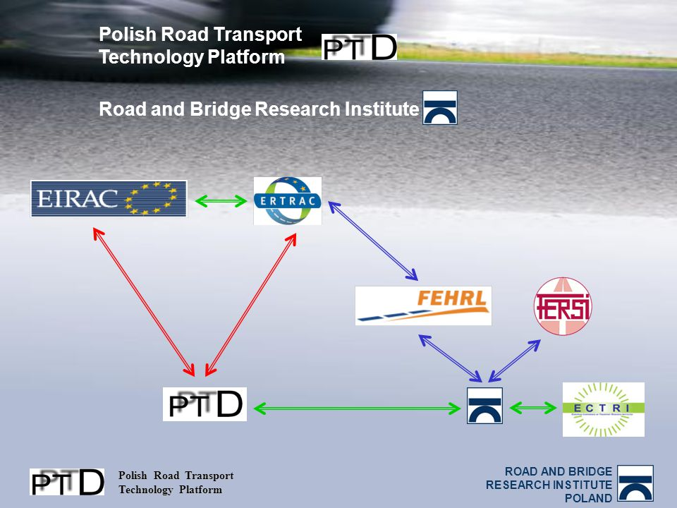 ROAD AND BRIDGE RESEARCH INSTITUTE POLAND Polish Road Transport Technology Platform Polish Road Transport Technology Platform Road and Bridge Research Institute