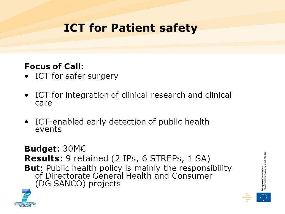 ICT for Patient safety Focus of Call: ICT for safer surgery ICT for integration of clinical research and clinical care ICT-enabled early detection of