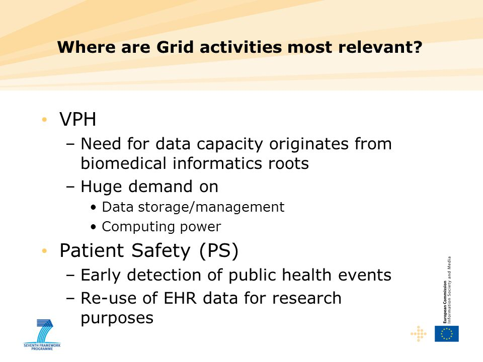 Where are Grid activities most relevant? VPH –Need for data capacity originates from biomedical informatics roots –Huge demand on Data storage/managem