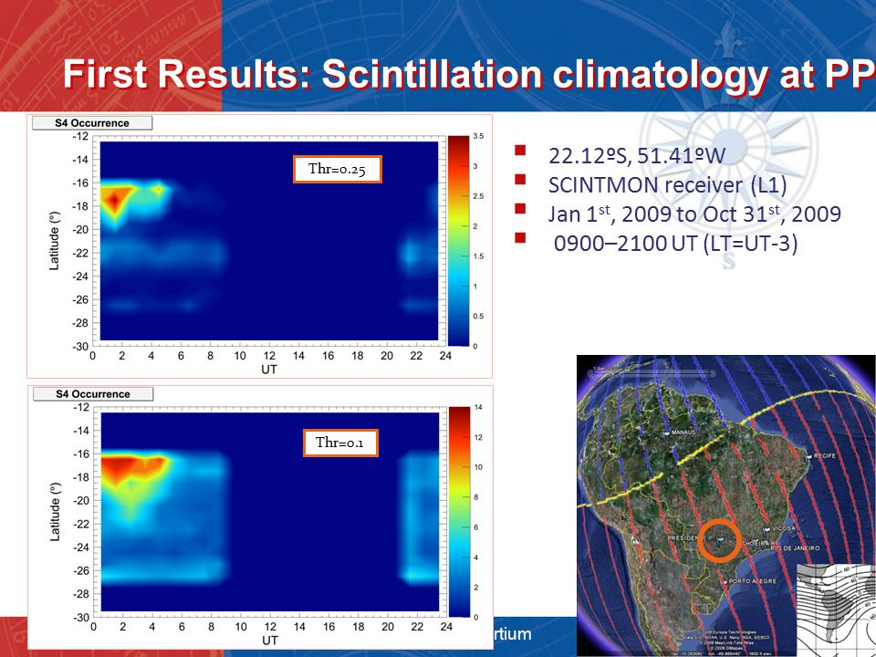 First Results: Scintillation climatology at PP  22.12ºS, 51.41ºW  SCINTMON receiver (L1)  Jan 1 st, 2009 to Oct 31 st, 2009  0900–2100 UT (LT=UT-3