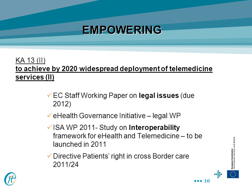 10 KA 13 (II) to achieve by 2020 widespread deployment of telemedicine services (II) EC Staff Working Paper on legal issues (due 2012) eHealth Governa