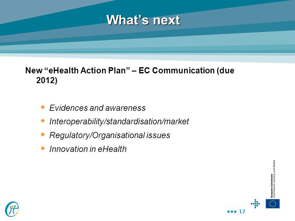 "17 What's next New ""eHealth Action Plan"" – EC Communication (due 2012)  Evidences and awareness  Interoperability/standardisation/market  Regulator"