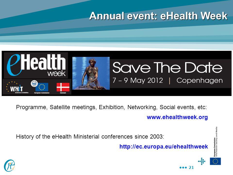21 Annual event: eHealth Week Programme, Satellite meetings, Exhibition, Networking, Social events, etc: www.ehealthweek.org History of the eHealth Mi