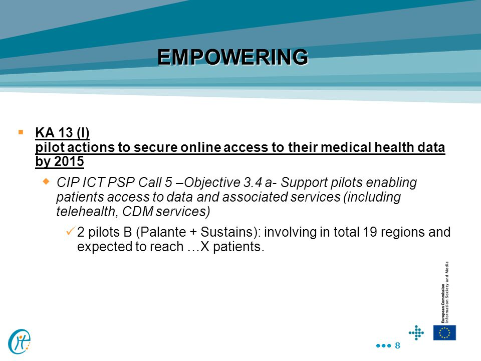 8 EMPOWERING  KA 13 (I) pilot actions to secure online access to their medical health data by 2015  CIP ICT PSP Call 5 –Objective 3.4 a- Support pil