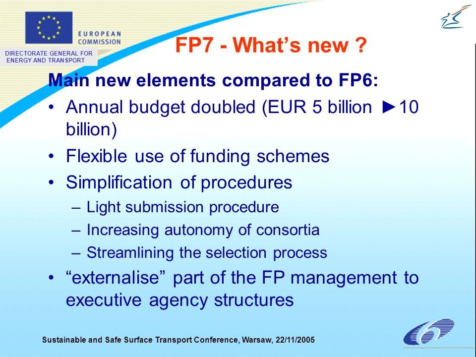 DIRECTORATE GENERAL FOR ENERGY AND TRANSPORT Sustainable and Safe Surface Transport Conference, Warsaw, 22/11/2005 FP7 - What's new .