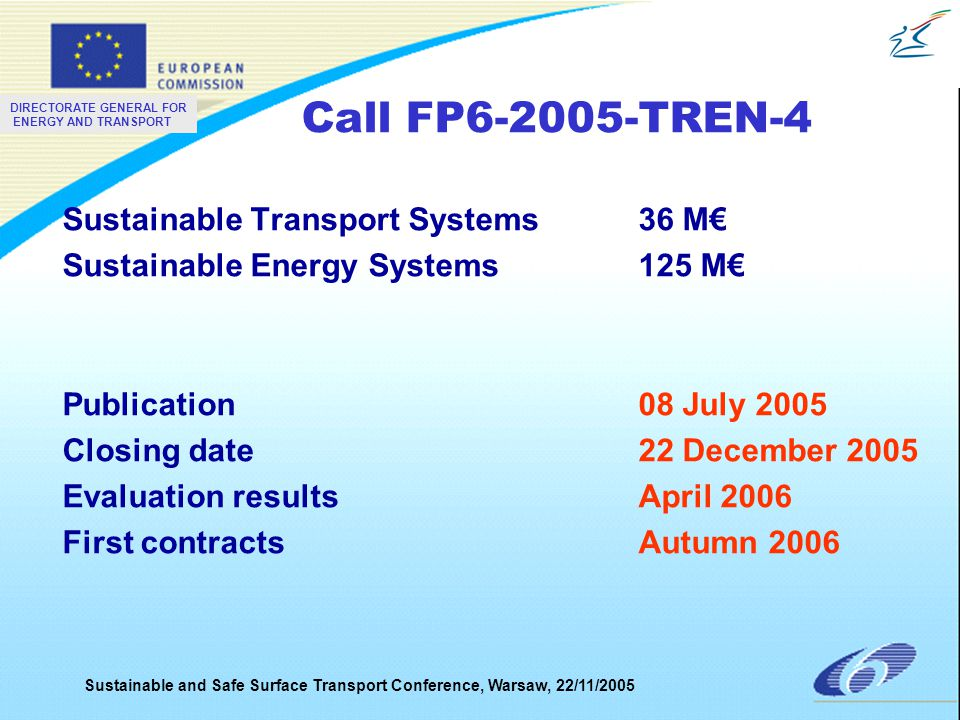 DIRECTORATE GENERAL FOR ENERGY AND TRANSPORT Sustainable and Safe Surface Transport Conference, Warsaw, 22/11/2005 Preparation of FP7 - Milestones COM: adoption of FP7 proposal (FP)Apr 05 COM: adoption of Specific Programmes (SP) Sep 05 COM: adoption of rules for participationOct 05 Council and EP: Adoption of FP and rules for participation June 06 Council: Adoption of SPJuly 06 COM: publication of 1 st callsNov 06