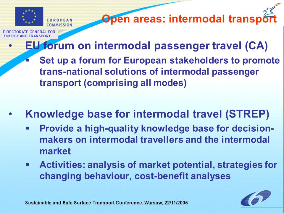 DIRECTORATE GENERAL FOR ENERGY AND TRANSPORT Sustainable and Safe Surface Transport Conference, Warsaw, 22/11/2005 EU forum on intermodal passenger tr