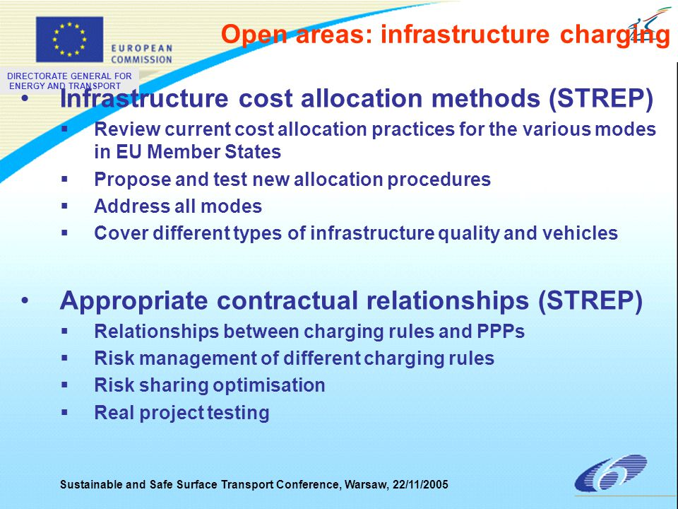 DIRECTORATE GENERAL FOR ENERGY AND TRANSPORT Sustainable and Safe Surface Transport Conference, Warsaw, 22/11/2005 Surface Transport Research to focus on: Ensuring sustainable urban mobility –Next generation vehicle Incl.