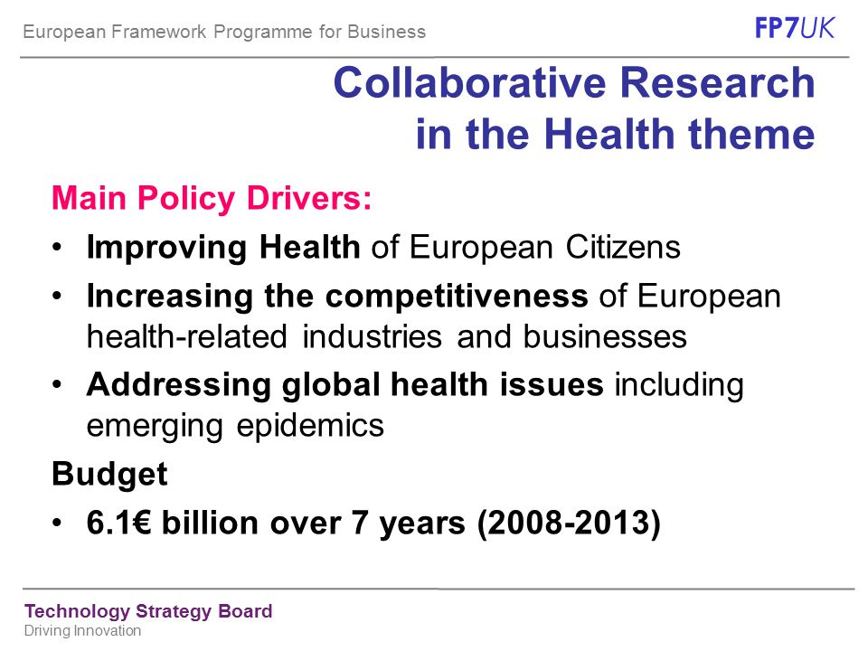 European Framework Programme for Business FP7 UK Technology Strategy Board Driving Innovation 3 rd Call for proposals for the Health theme Publication of 3 rd call expected: 3 September 2008  Drawing on the budget for 2009: ~€ 593m*  There will in fact be two calls, published in parallel:  'FP7-HEALTH-2009- single-stage'€476m for most areas of the work programme expected deadline: 3 Dec.