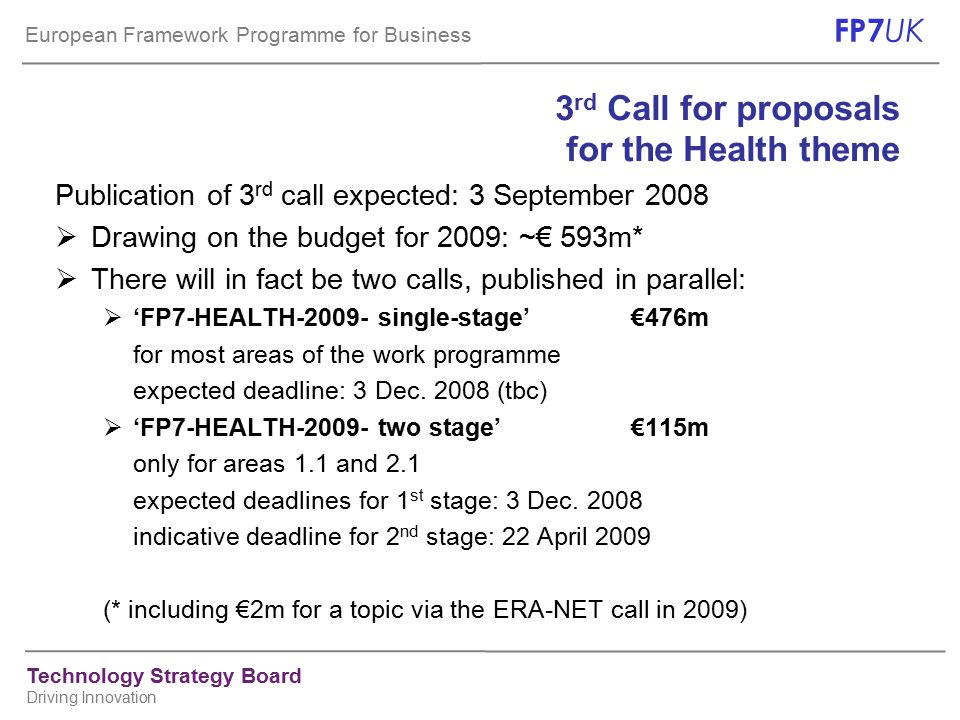 European Framework Programme for Business FP7 UK Technology Strategy Board Driving Innovation 3 rd Call for proposals for the Health theme Publication of 3 rd call expected: 3 September 2008  Drawing on the budget for 2009: ~€ 593m*  There will in fact be two calls, published in parallel:  'FP7-HEALTH-2009- single-stage'€476m for most areas of the work programme expected deadline: 3 Dec.