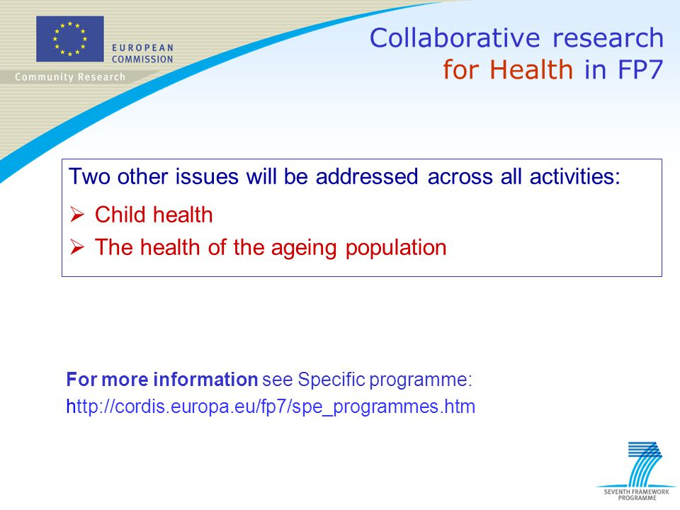 Two other issues will be addressed across all activities:  Child health  The health of the ageing population Collaborative research for Health in FP
