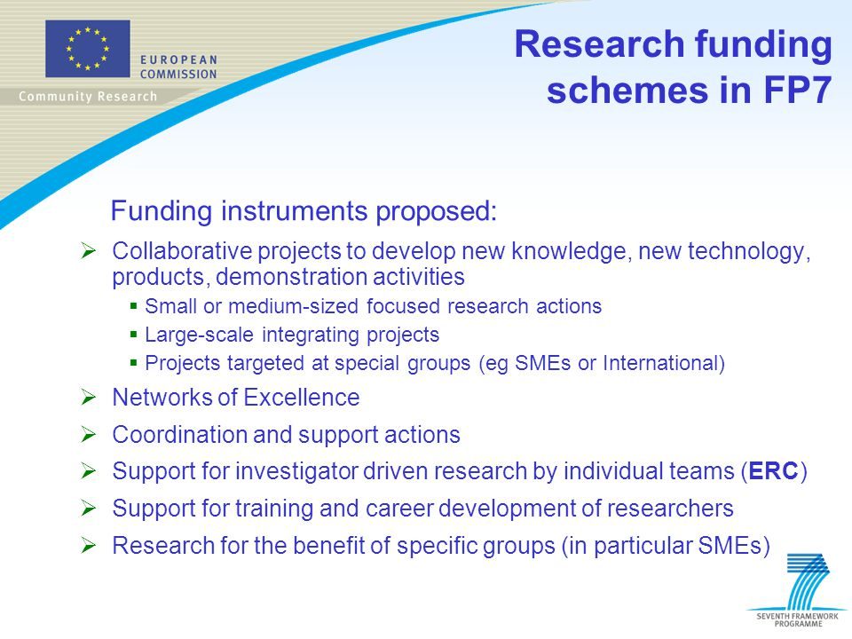 Funding instruments proposed:  Collaborative projects to develop new knowledge, new technology, products, demonstration activities  Small or medium-