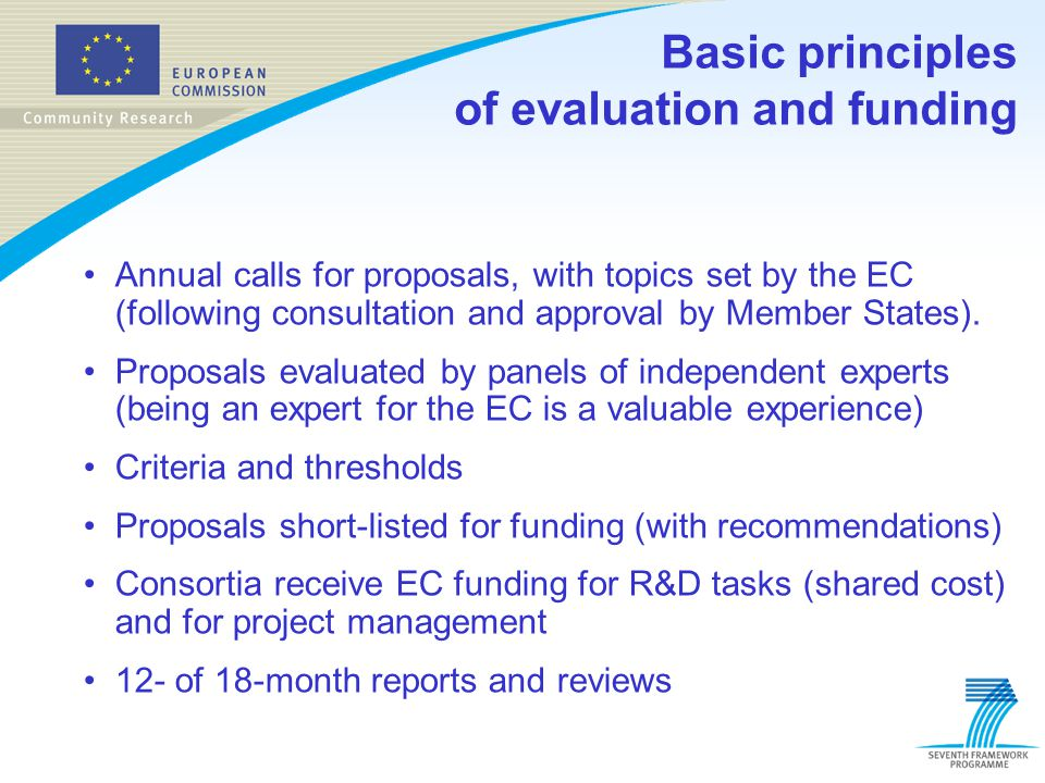 Basic principles of evaluation and funding Annual calls for proposals, with topics set by the EC (following consultation and approval by Member States