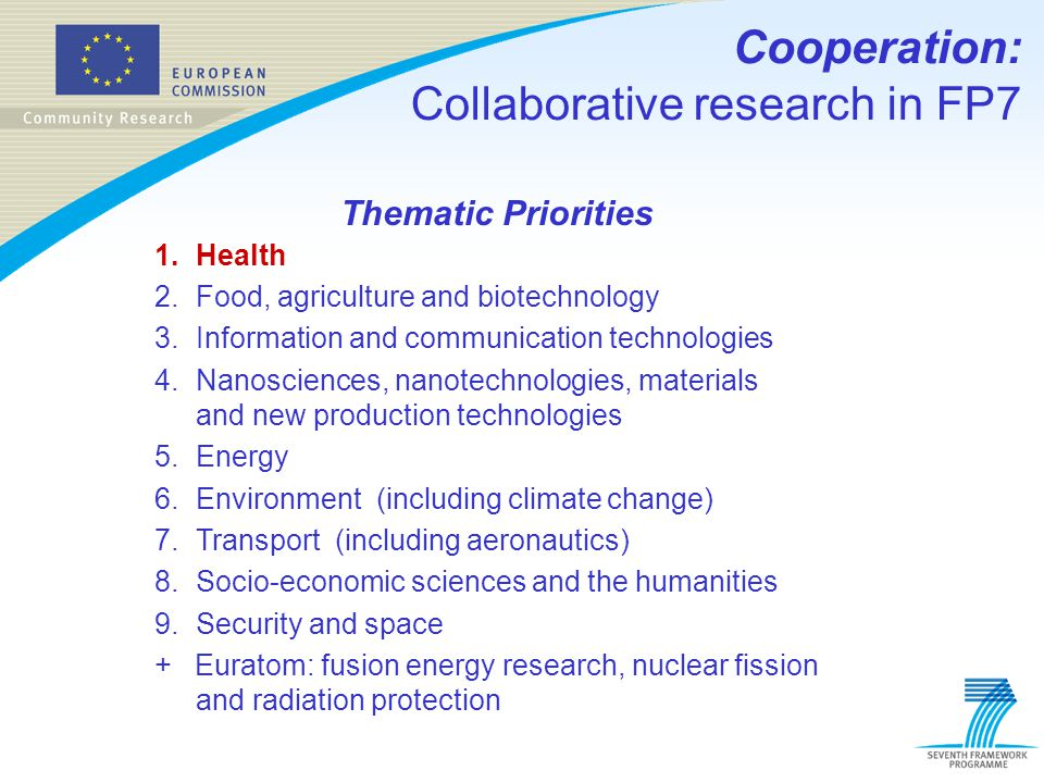 Thematic Priorities 1.Health 2.Food, agriculture and biotechnology 3.Information and communication technologies 4.Nanosciences, nanotechnologies, mate