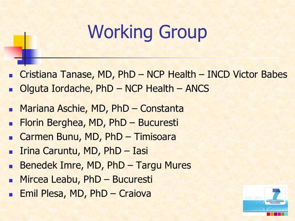Working Group Cristiana Tanase, MD, PhD – NCP Health – INCD Victor Babes Olguta Iordache, PhD – NCP Health – ANCS Mariana Aschie, MD, PhD – Constanta Florin Berghea, MD, PhD – Bucuresti Carmen Bunu, MD, PhD – Timisoara Irina Caruntu, MD, PhD – Iasi Benedek Imre, MD, PhD – Targu Mures Mircea Leabu, PhD – Bucuresti Emil Plesa, MD, PhD – Craiova