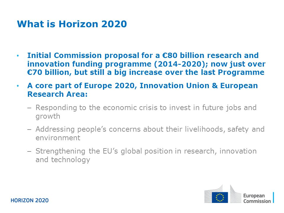 What is Horizon 2020 Initial Commission proposal for a €80 billion research and innovation funding programme (2014-2020); now just over €70 billion, b